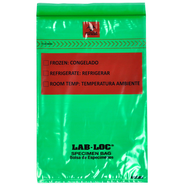 """LK Packaging LABZ69GR Lab-Loc 6"""" x 9"""" Seal-N-Rip Reclosable Green Tint 3-Wall Specimen Transfer Bag with Removable Biohazard Symbol - 1000/Case Main Image 1"""