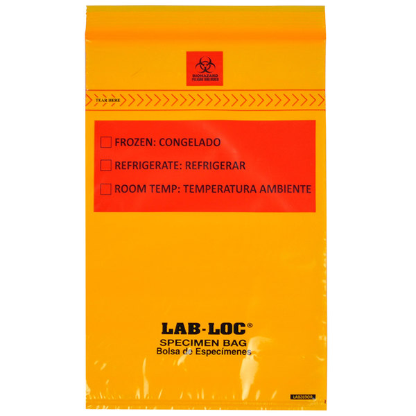 """LK Packaging LABZ69OR Lab-Loc 6"""" x 9"""" Seal-N-Rip Reclosable Orange Tint 3-Wall Specimen Transfer Bag with Removable Biohazard Symbol - 1000/Case Main Image 1"""