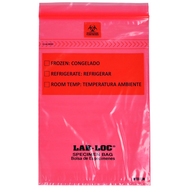 "LK Packaging LABZ69RE Lab-Loc 6"" x 9"" Seal-N-Rip Reclosable Red Tint 3-Wall Specimen Transfer Bag with Removable Biohazard Symbol - 1000/Case Main Image 1"