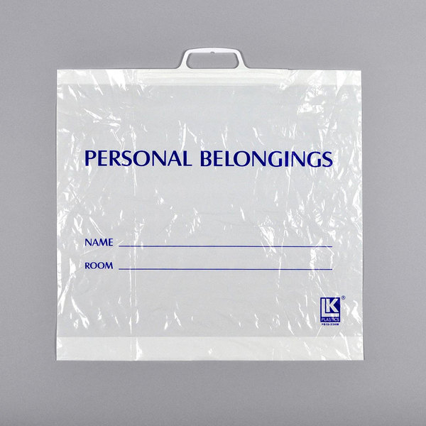 """LK Packaging PB19183HW 19"""" x 3"""" x 18"""" Opaque White Personal Belongings Bag with Snap Handle - 200/Case Main Image 1"""