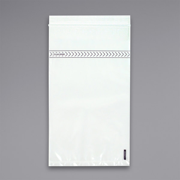 "LK Packaging LABZ69 Lab-Loc 6"" x 9"" Seal-N-Rip Reclosable Unprinted 3-Wall Specimen Transfer Bag - 1000/Case Main Image 1"