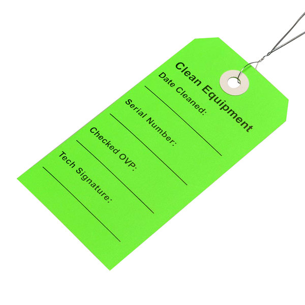 "LK Packaging TCEG 2 5/16"" x 4 3/4"" Green ""Clean Equipment"" Tag with Wire Tie - 500/Case Main Image 1"