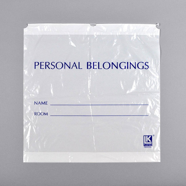 """LK Packaging PB25263DW 26"""" x 3"""" x 25"""" Opaque White Personal Belongings Bag with Cordstring Closure - 250/Case Main Image 1"""