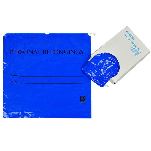 """LK Packaging PB20203DB 20"""" x 3"""" x 20"""" Opaque Blue Personal Belongings Bag with Cordstring Closure - 250/Case Main Image 1"""