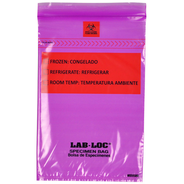 """LK Packaging LABZ69PU Lab-Loc 6"""" x 9"""" Seal-N-Rip Reclosable Purple Tint 3-Wall Specimen Transfer Bag with Removable Biohazard Symbol - 1000/Case Main Image 1"""