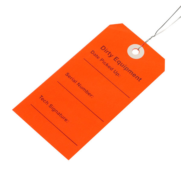 """LK Packaging TDER 2 5/16"""" x 4 3/4"""" Red """"Dirty Equipment"""" Tag with Wire Tie - 500/Case Main Image 1"""