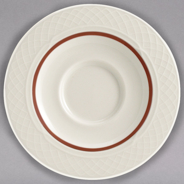 "Homer Laughlin 3551492 Gothic Maroon Jade 5 5/8"" Off White China Saucer - 36/Case"