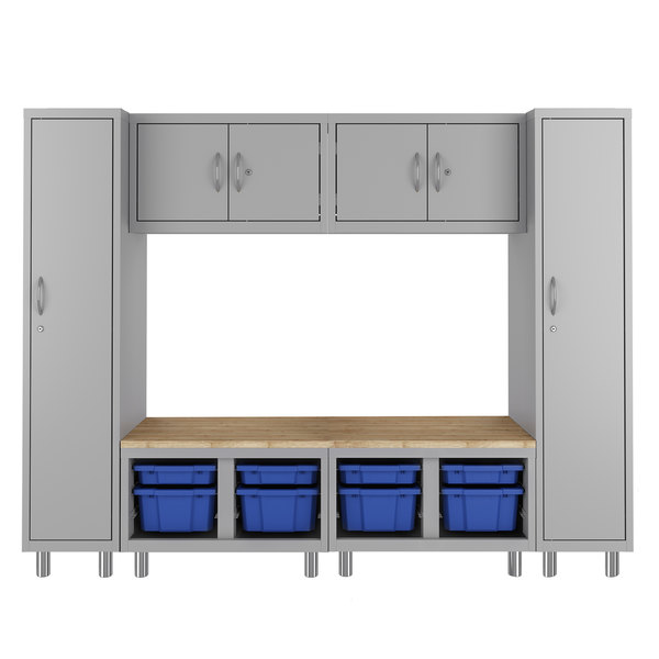 Hirsh Industries 1947470-PKG Makerspace Classroom Starter Storage System with Lockers, Cabinets, Storage Benches, and Worksurface Main Image 1
