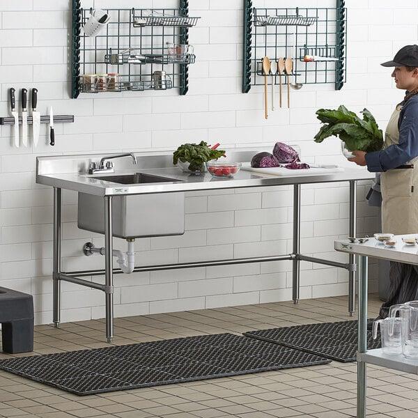 "Regency 30"" x 72"" 16 Gauge Stainless Steel Work Table with Left Sink and Cross Bracing Main Image 6"