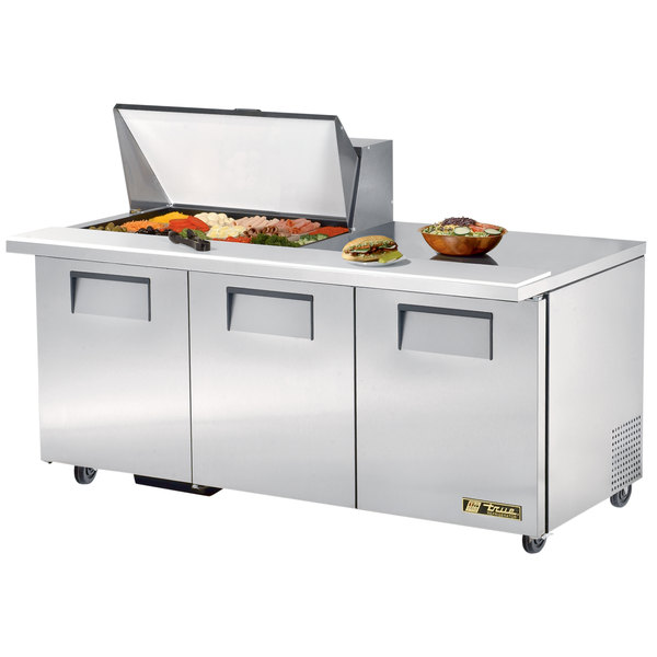 "True TSSU-72-15M-B 72"" 3 Door Mega Top Refrigerated Sandwich Prep Table"