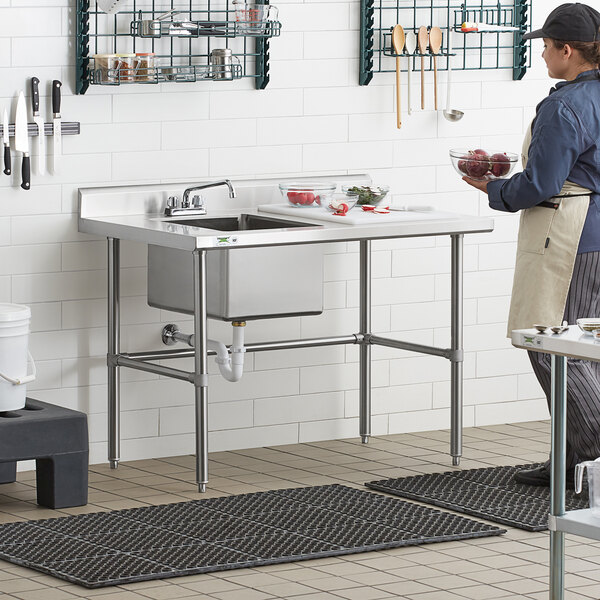 "Regency 30"" x 48"" 16 Gauge Stainless Steel Work Table with Left Sink and Cross Bracing Main Image 6"