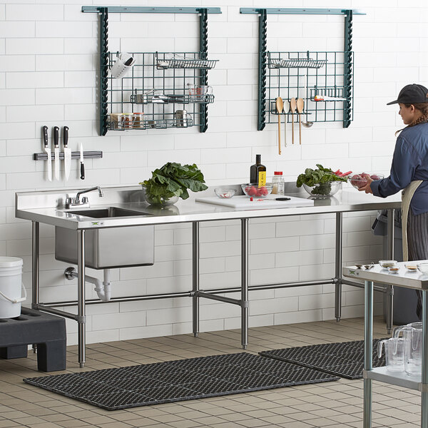 "Regency 30"" x 96"" 16 Gauge Stainless Steel Work Table with Left Sink and Cross Bracing Main Image 6"