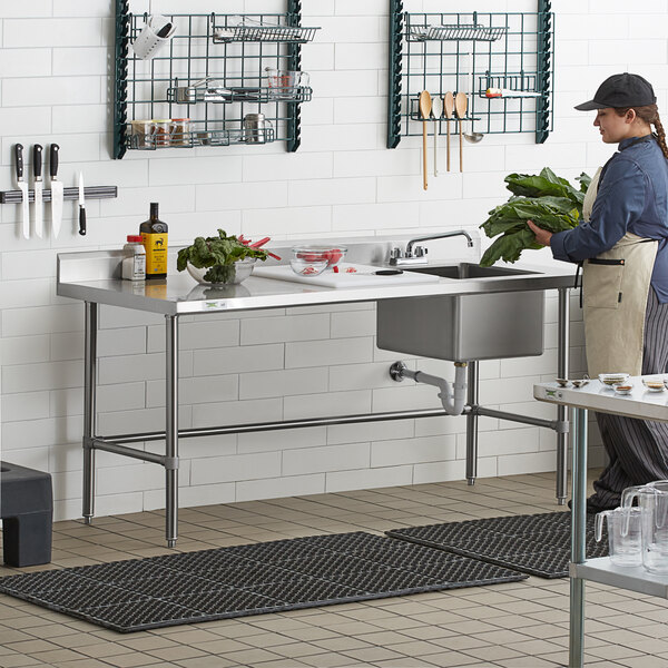 """Regency 30"""" x 72"""" 16 Gauge Stainless Steel Work Table with Right Sink and Cross Bracing Main Image 6"""