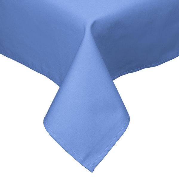 "54"" x 54"" Light Blue Hemmed Polyspun Cloth Table Cover"