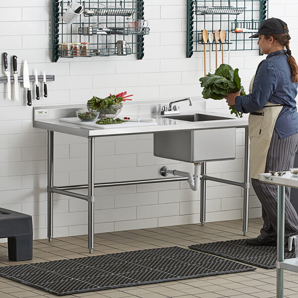 """Regency 30"""" x 60"""" 16 Gauge Stainless Steel Work Table with Right Sink and Cross Bracing Main Image 6"""