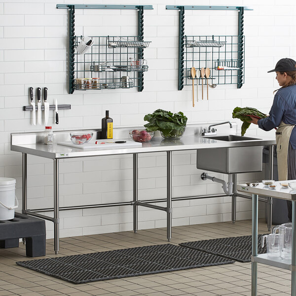 """Regency 30"""" x 96"""" 16 Gauge Stainless Steel Work Table with Right Sink and Cross Bracing Main Image 6"""