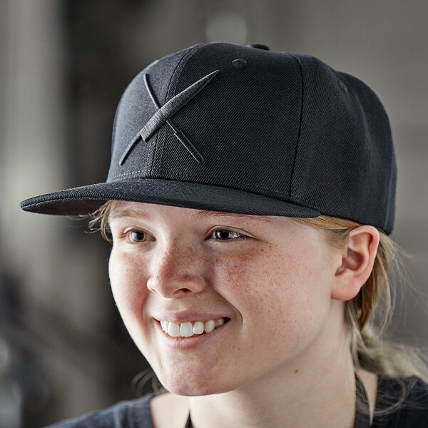 Mercer Culinary Black 6-Panel Snapback Hat with Large Black Logo Main Image 3