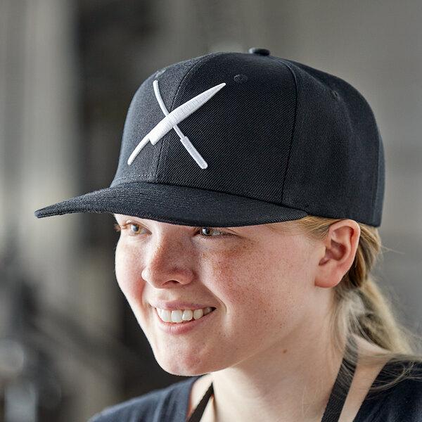 Mercer Culinary Black 6-Panel Snapback Hat with Large White Logo Main Image 3