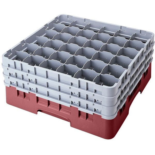 """Cambro 36S900163 Red Camrack Customizable 36 Compartment 9 3/8"""" Glass Rack Main Image 1"""