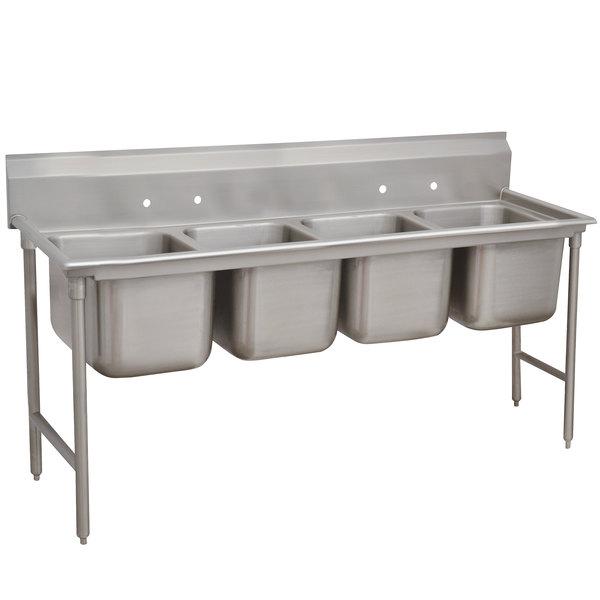 "Advance Tabco 9-24-80 Super Saver Four Compartment Pot Sink - 97"""