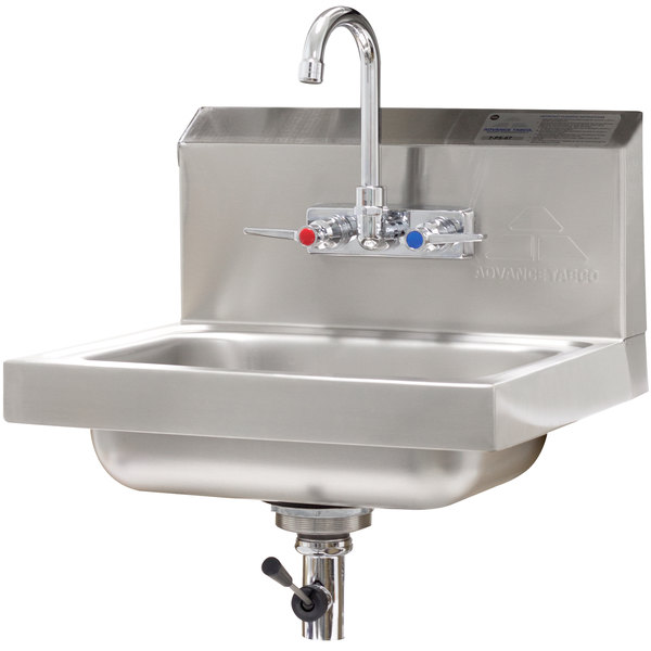 "Advance Tabco 7-PS-67 Hand Sink with Splash Mount Faucet and Lever Operated Drain - 17 1/4"" x 15 1/4"""