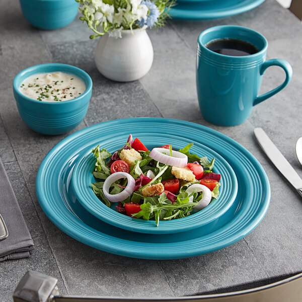 Acopa Capri Caribbean Turquoise China Dinnerware Set with Service for 12 Main Image 2