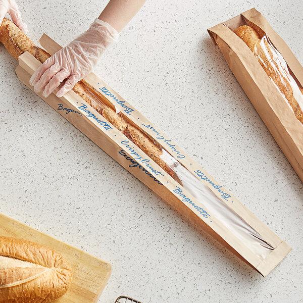 "Bagcraft Packaging 300883 EcoCraft 3 1/2"" x 2"" x 26"" Dubl-Panel Crispy Crust Baguette Printed Bread Bag - 500/Case Main Image 2"