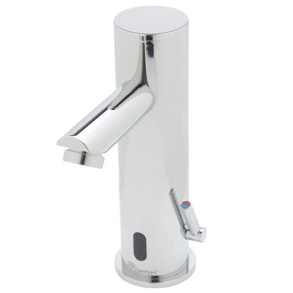 """T&S EC-3122-VF05 Deck Mount ChekPoint Single Hole Automatic Hands Free Faucet with 144"""" Power Cord and 0.5 GPM Vandal Resistant Spray Device"""