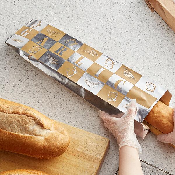 "Bagcraft Packaging 300861 EcoCraft 5 1/4"" x 3 1/4"" x 20"" Large Foil Garlic Printed Bread Bag - 500/Case Main Image 2"