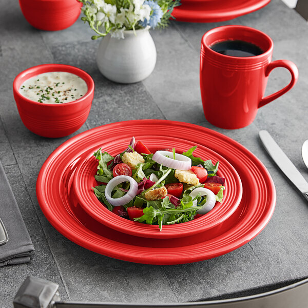 Acopa Capri Passion Fruit Red China Dinnerware Set with Service for 12 - 48/Pack Main Image 2