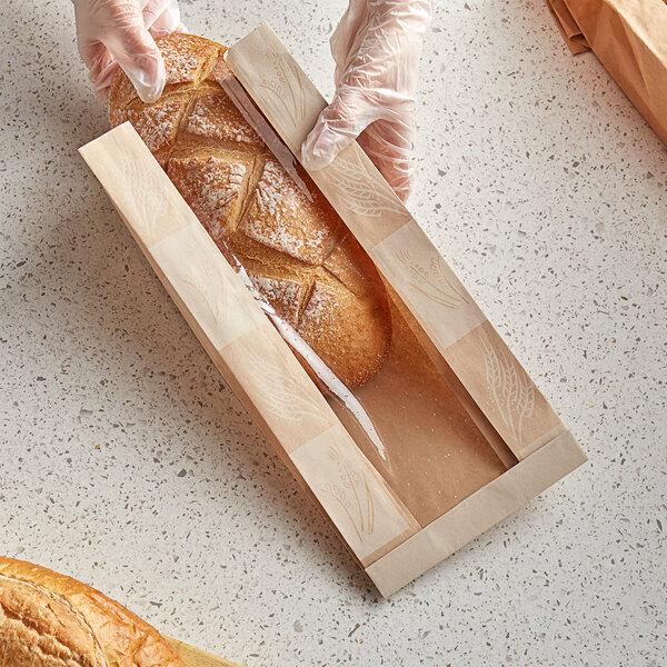 """Bagcraft Packaging 300865 EcoCraft 6"""" x 3 1/2"""" x 13 1/2"""" Dubl-Panel Artisan Bread Bag - 500/Case Main Image 2"""