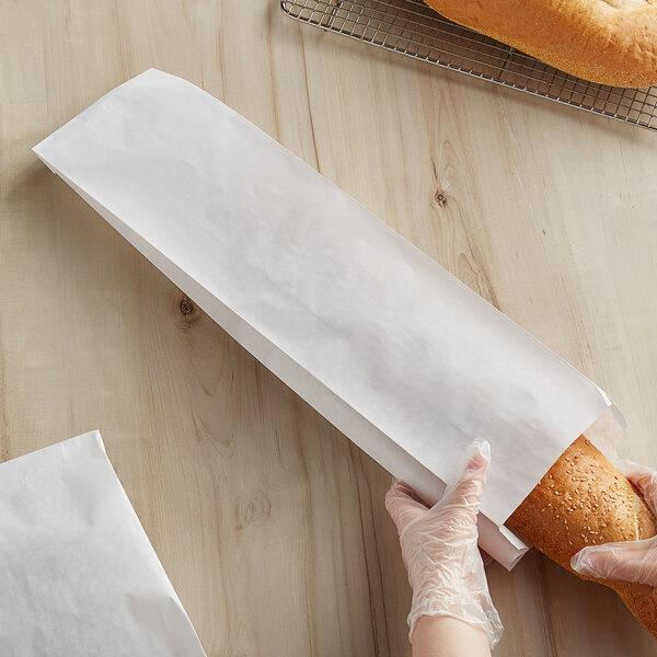 """Bagcraft Packaging 300165 5 1/4"""" x 3 1/4"""" x 20"""" White Bread Bag - 1000/Case Main Image 2"""