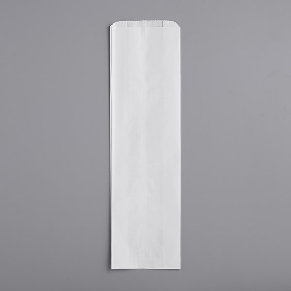 """Bagcraft Packaging 300163 5 1/4"""" x 2 3/4"""" x 18"""" White Bread Bag - 1000/Case Main Image 1"""