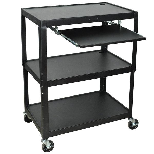 Luxor AVJ42XLKB Adjustable Height 3 Shelf Black A/V Cart with Keyboard Shelf