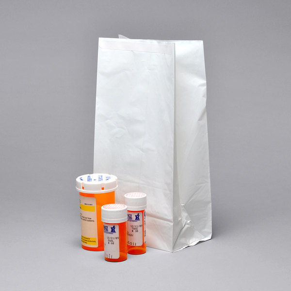 "LK Packaging WPB6312 6"" x 3 1/2"" x 11"" White Pharmacy Bag with Adhesive Tape Closure - 250/Case Main Image 1"