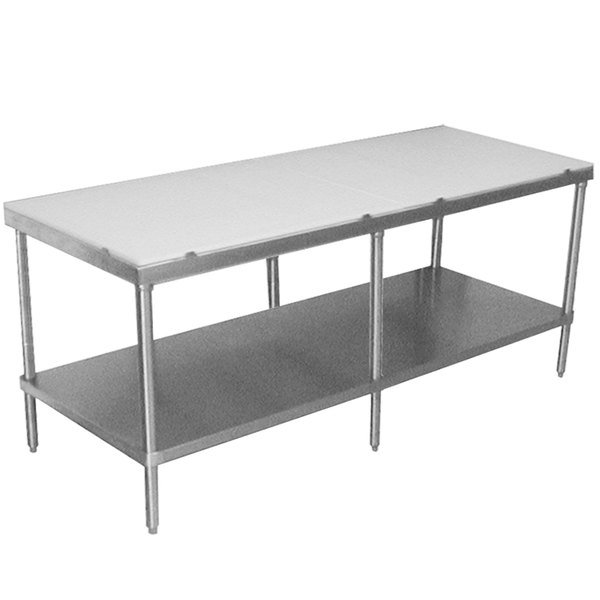 "Advance Tabco SPT-2410 Poly Top Work Table 24"" x 120"" with Undershelf"