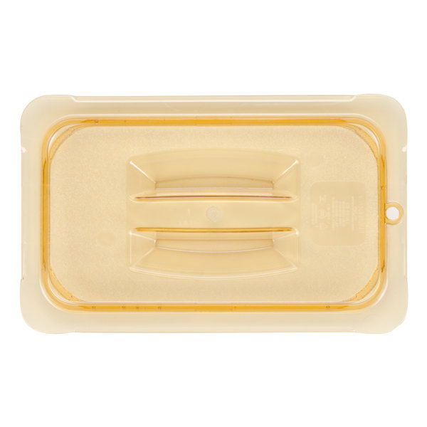Carlisle 10490U13 StorPlus 1/4 Size Amber Universal High Heat Handled Lid