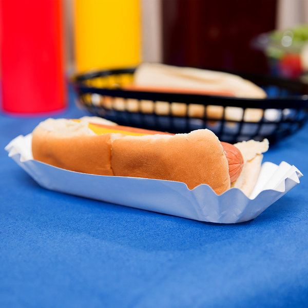 """Heavy Weight 6"""" White Paper Fluted Hot Dog Tray - 500/Pack"""