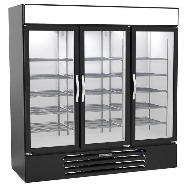 "Beverage-Air MMR72HC-1-B-WINE MarketMax 75"" Black Glass Door Wine Refrigerator Main Image 1"