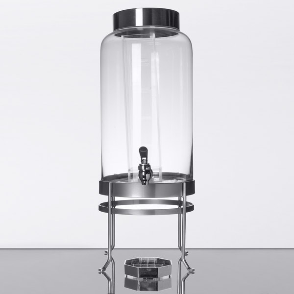 Cal Mil 1580 3inf 74 3 Gallon Silver Soho Glass Beverage Dispenser With Infusion Chamber