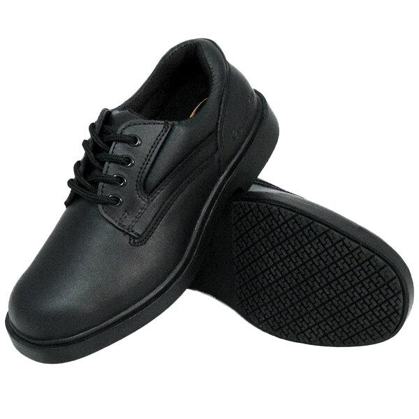 Black Leather Comfort Oxford Non Slip Shoe