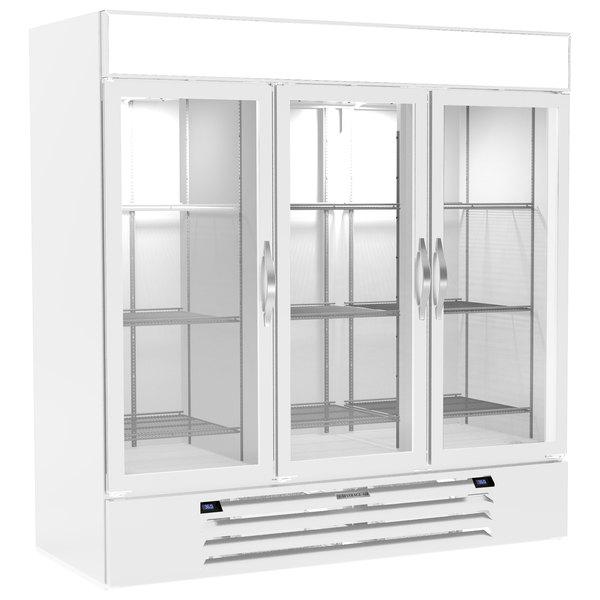 "Beverage-Air MMRR72HC-1-B-WW-WINE MarketMax 75"" White Glass Door Dual Temperature Wine Refrigerator with White Interior Main Image 1"