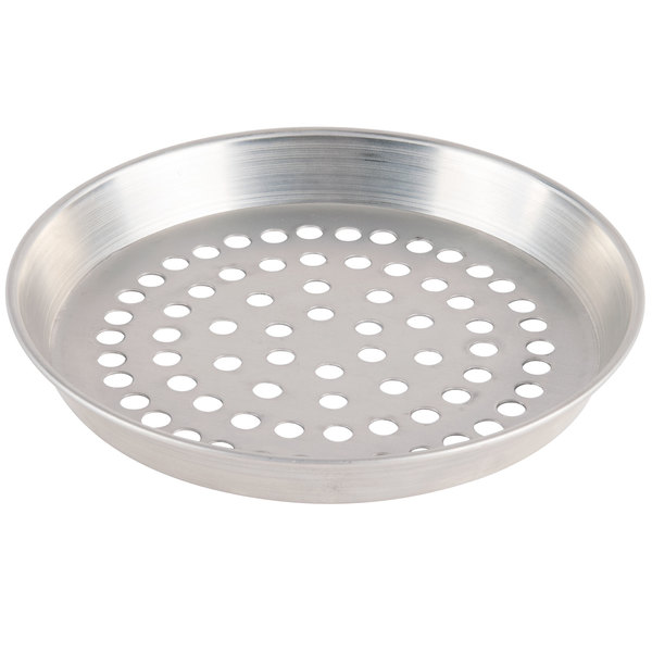 "American Metalcraft SPADEP14 14"" x 1"" Super Perforated Standard Weight Aluminum Tapered / Nesting Deep Dish Pizza Pan"