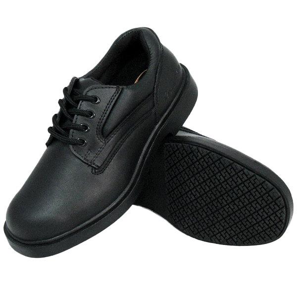 Wide Width Black Oxford Non Slip Shoe