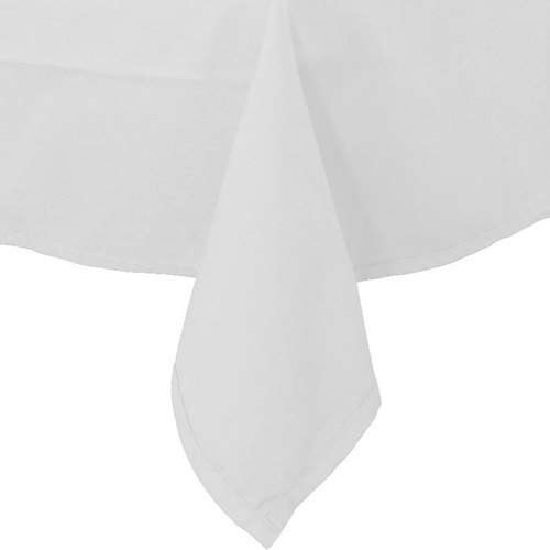 """54"""" x 96"""" White 100% Polyester Hemmed Cloth Table Cover"""
