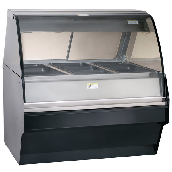 """Alto-Shaam TY2SYS-48 BK Black Heated Display Case with Curved Glass and Base - Full Service 48"""""""