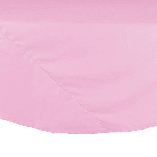 132 inch Pink Round Hemmed Polyspun Cloth Table Cover