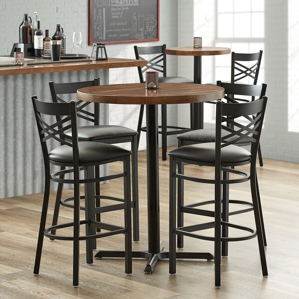 """Lancaster Table & Seating 36"""" Round Recycled Wood Butcher Block Table Top with Vintage Finish Main Image 3"""