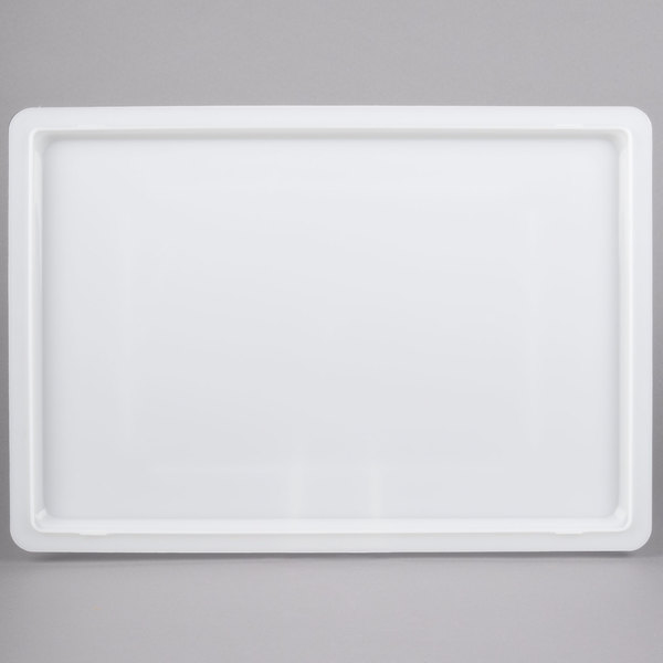 """Cambro 1826CP148 18"""" x 26"""" White Poly Flat Lid for Food Storage Box"""