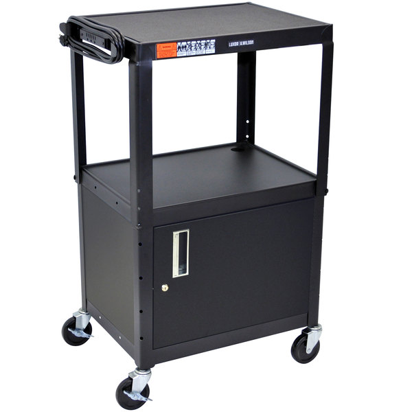 Luxor AVJ42C Adjustable Height Black 2 Shelf A/V Cart with Locking Cabinet Main Image 1